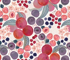 Peaches, plums and cherries
