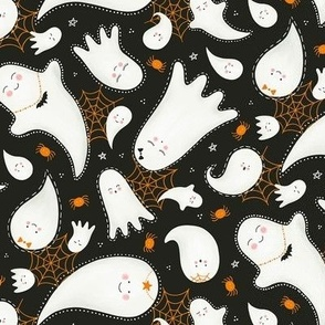 Cute Halloween Ghosts and Spiders / Dark Gray / Small Scale