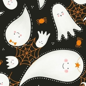 Cute Halloween Ghosts and Spiders / Dark Gray
