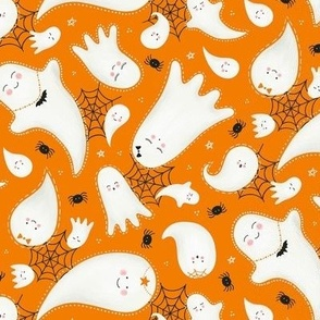 Cute Halloween Ghosts and Spiders / Orange / Small Scale
