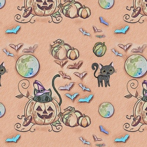 pastel halloween kitties bats and pumpkins