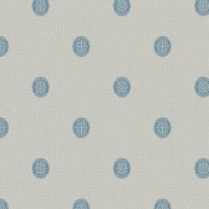 Blue Medallion Block Print on Texture