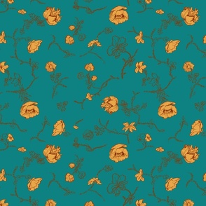 Sketch-floral-pattern-teal-n-gold