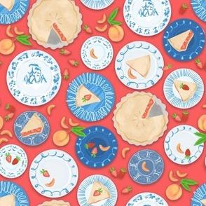 Blue Plate Special Strawberry Peach Pie - Pomegranate Background