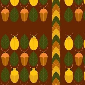 Retro Beetles and Leaves Brown