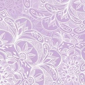 Organic Hand Drawn Mandalas in Soft Lilac Purple and White