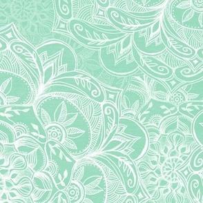Organic Hand Drawn Mandalas in Pastel Mint Green and White