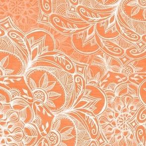 Organic Hand Drawn Mandalas in Papaya Orange and White