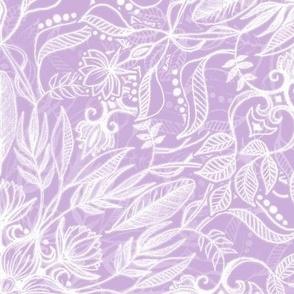 Nature Mandala in Monochrome Pastel Purple and White