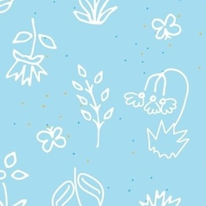 Baby Blue Hand Drawn Floral