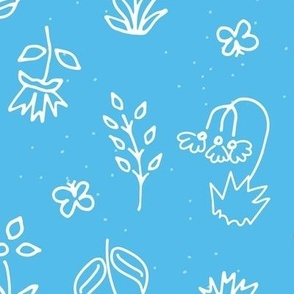 Turquoise Hand Drawn Floral: Vibrant and Energy turquoise-02