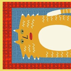orange cat tea towel