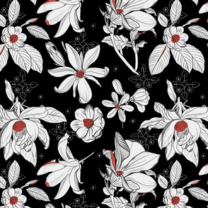 magnolia in black, white and red