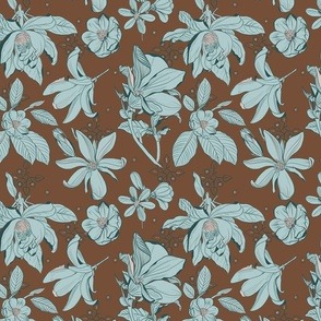 magnolia in brown and blue