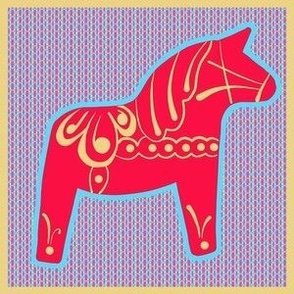 Sweet Swedish Dala Horse Single - Red Blue Yellow 6x6panel