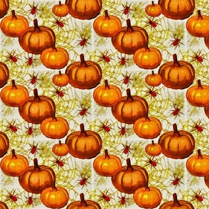 Orange pumpkins and spiders