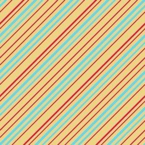Fun Diagonal Stripes yellow blue pink 6x6