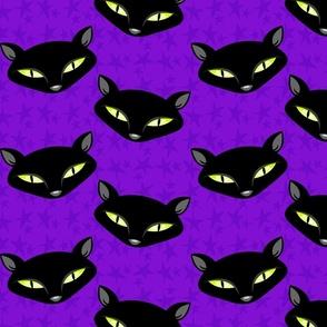 Black Cats on Purple Stars - Large