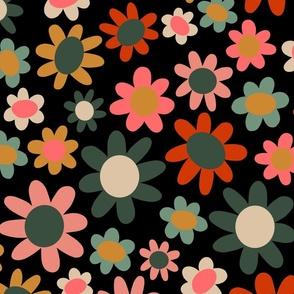 Multicolored flowers, black large