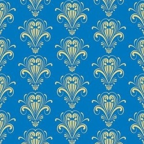Simple Damask Small blue yellow