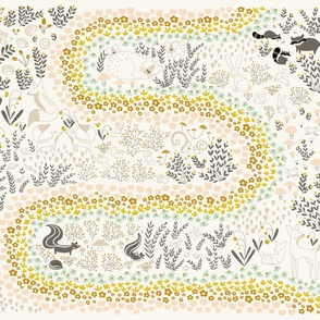 whimsical woodland animal seek and find playmat