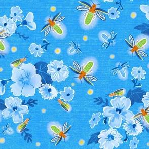Retro Fireflies on Blue