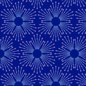 Starburst beads - blue & coral on navy