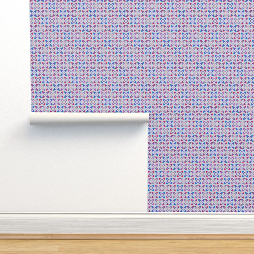 Isobar Durable Wallpaper featuring Kiss flowers - blue & coral on steel by coggon_(roz_robinson)