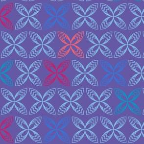 Kiss line flowers - blue & coral on purple