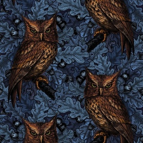 Owls in the oak tree, blue and brown
