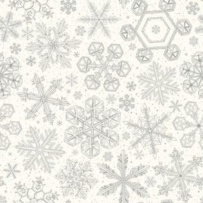 Gray Snowflakes on off white