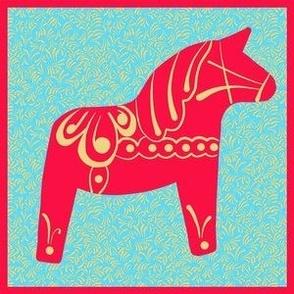 Single Red Swedish Dala Horse with  Red Yellow Border 6x  Panel