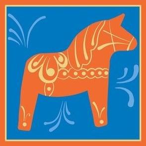 Swedish Dala horse 6 inch panel with border blue orange