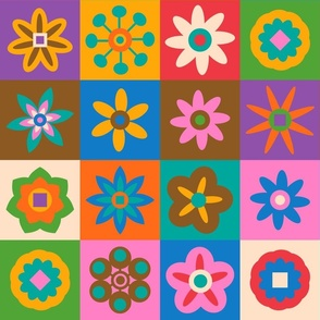 Match the Flowers Checkerboard Playmat - Seek and Find Colours and Shapes - JUMBO Scale - UnBlink Studio by Jackie Tahara
