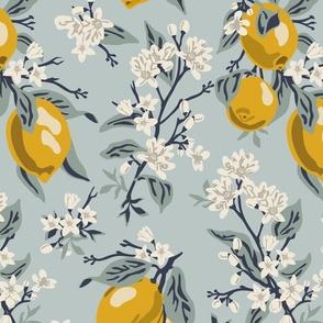 Lemons - NO BEES - Large - Blue (original colors)-12x18-300dpi-12x18-01