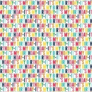paws its my birthday ULTRA small rainbow with navy UPPERcase