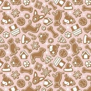 Dog Gingerbread Cookies - Pink, Small Scale