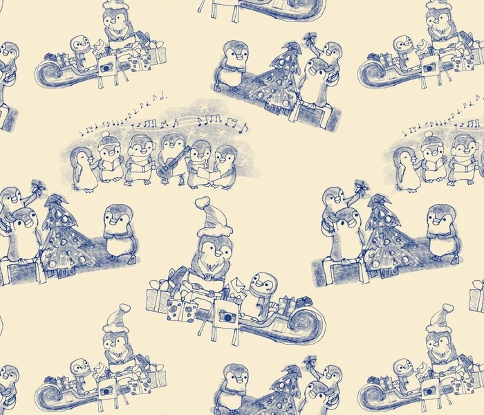 mr penguin and company - christmas toile -large