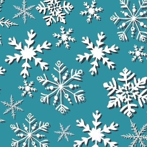 Snowflakes in teal, seaglass and white