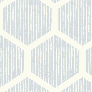 honey comb hexagon pin stripe light blue large scale