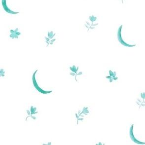 Emerald baby boho moonlight - watercolor moons and florals minimalistic esoteric a404-3-3