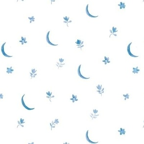 Sapphire blue  baby boho moonlight - watercolor moons and florals minimalistic esoteric a404-3-4
