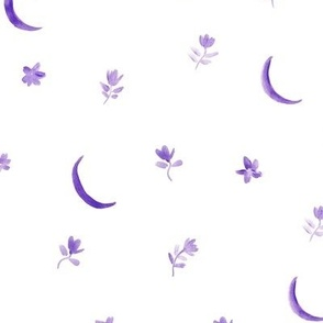 Amethyst baby boho moonlight - watercolor moons and florals minimalistic esoteric a404-3-5