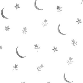 Silver gray baby boho moonlight - watercolor moons and florals minimalistic esoteric a404-3-8