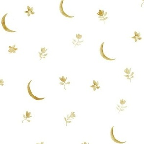 Mustard baby boho moonlight - watercolor moons and florals minimalistic esoteric a404-3-1