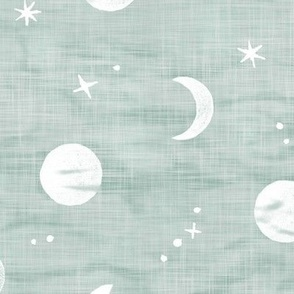 Shibori Moons and Stars in Sea Mist (xl scale)   Night sky fabric, block printed moon on linen pattern, crescent moon, arashi shibori linen, eucalyptus green blue gray.