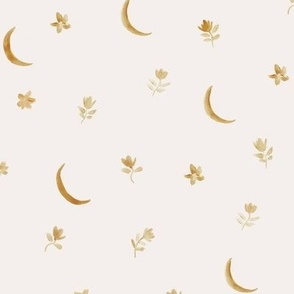 baby boho moonlight - earthy watercolor moons and florals minimalistic esoteric a404-3-9