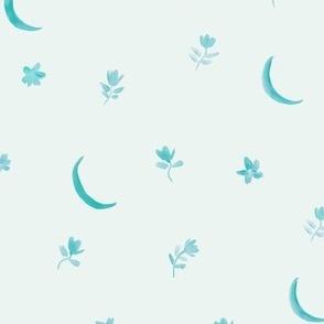 emerald baby boho moonlight - watercolor moons and florals minimalistic esoteric a404-3-10