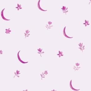 Fandango pink baby boho moonlight - watercolor moons and florals minimalistic esoteric a404-3-12