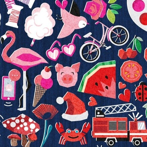 Color your way playmat // yard scale 42''x36'' // midnight blue background color palette centred with colourful objects, fruits, veggies animals and vehicles all around